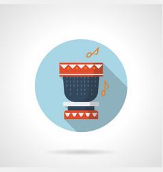 tribal rhythm flat blue round icon vector image
