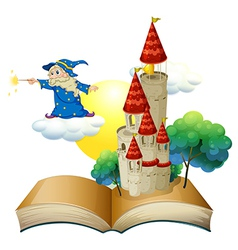 A book with an image of a castle and a magician vector image vector image