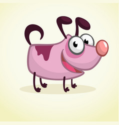 cute cartoon pink dog vector image vector image