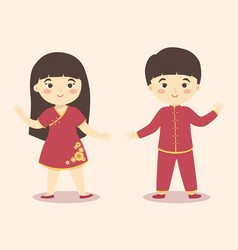 cute chinese new year kids boy girl costume vector image vector image
