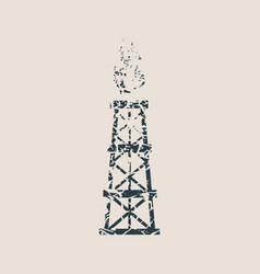 gas tower icon grunge style vector image vector image