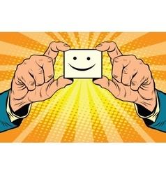 joy Smiley face in hands vector image vector image