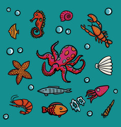 marine life in cartoon style on a blue background vector image vector image