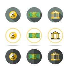 Money and banking icons set In different flat vector image vector image