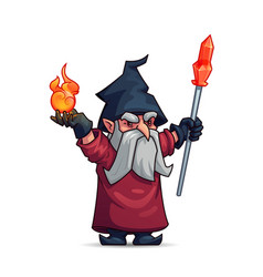 old wizard sorcerer or magician cartoon character vector image