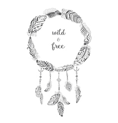 Boho Style Frame with Ethnic Arrows and Feathers vector image vector image