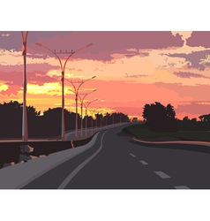 highway on a background of pink sunset vector image