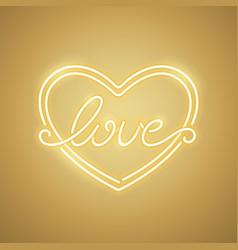 love heart yellow neon banner vector image vector image