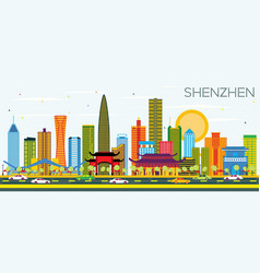 Shenzhen china city skyline with color buildings vector