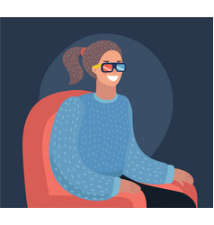 3d glasses and popcorn for cinema vector image