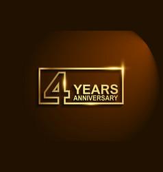 4 years anniversary golden design line style vector