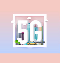 5g network logo in smart city technology icon vector