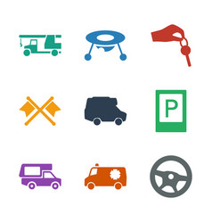 9 car icons vector image
