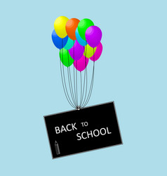 a school board raised by balloons vector image