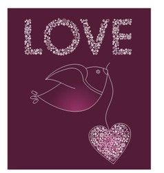 Abstract bird with a pink heart vector image