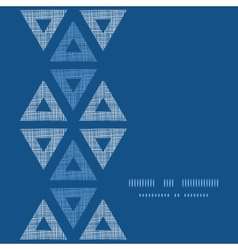 Abstract textile blue triangles ikat vertical vector image
