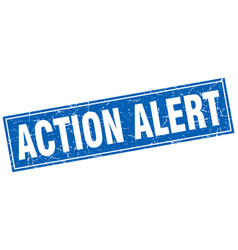 Action alert square stamp vector