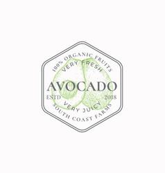 Avocado farm frame badge or logo template hand vector