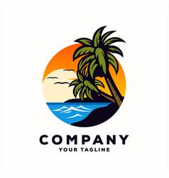 awesome beach sea logo design vector image