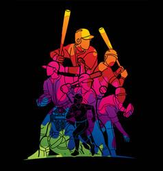 Baseball players action cartoon sport graphic vector