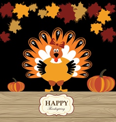 Beautiful turkey with pumpkin and red maple vector image