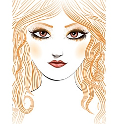 Beauty girl face with yellow hair vector image