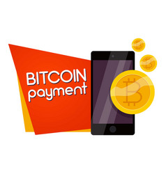 bitcoin payment icon cartoon style vector image