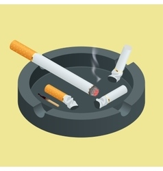 Black ceramic ashtray full of smokes cigarettes vector