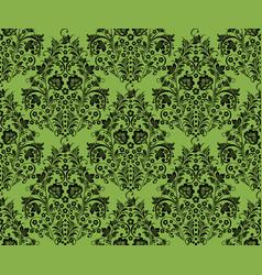 black khokhloma flowers greenery seamless pattern vector image