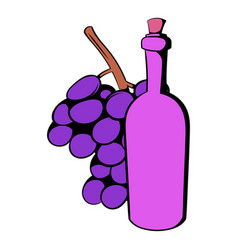 Bottle of wine grape branch icon cartoon vector