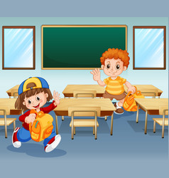 Boy and girl in class vector