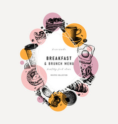 breakfast trendy design morning food and drinks vector image