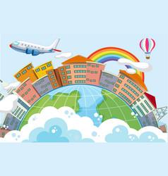 buildings in globe scene with plane vector image