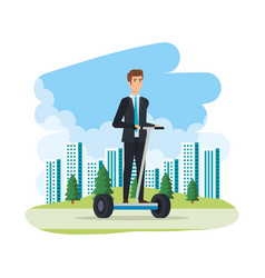 Businessman in folding e-scooter on landscape vector