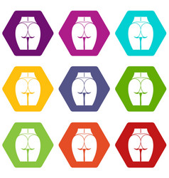 buttocks of girl icon set color hexahedron vector image