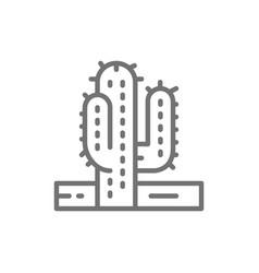 cactus desert tree line icon vector image