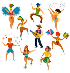 carnival people happy dancing men and women in vector image