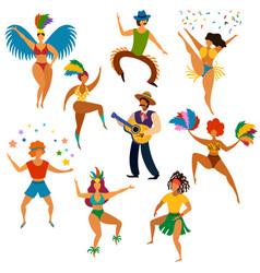 carnival people happy dancing men and women vector image