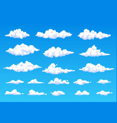 Cartoon fluffy white clouds in blue sky cloudspace vector