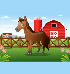 Cartoon horses with ranch cages vector