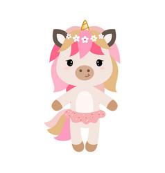 Cartoon unicorn in flat style vector