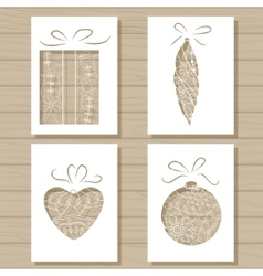 Christmas set of stencil templates on wooden vector image vector image