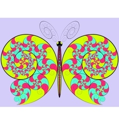 Color hypnotic butterfly vector