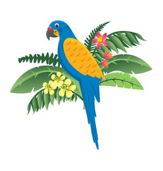 colorful bird parrot sitting in flowers and green vector image