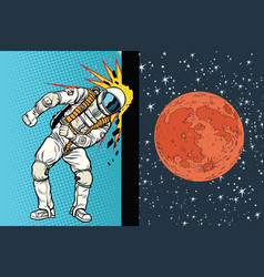 Cosmonaut knocks head on wall a dream to be vector