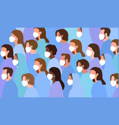 crowd diverse people wearing face masks vector image
