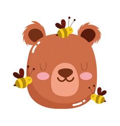cute animals head bear and bees cartoon isolated vector image