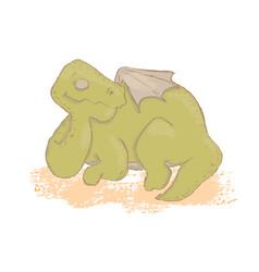 Dino sleep prehistoric cartoon beast hand drawn il vector