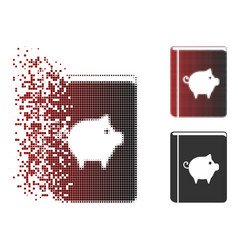 Dissipated pixel halftone pig handbook icon vector