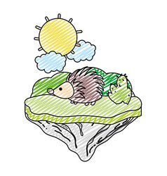 doodle nice porcupine animal in the float island vector image